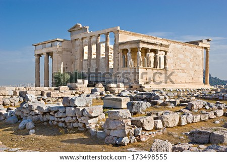 The Erechtheion with its famous Porch of the Maidens (Caryatids) is a temple in Acropolis citadel, dedicated to both of Athena and Poseidon.