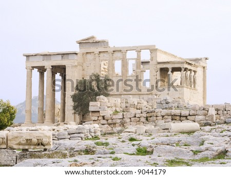 The Erechtheum (Greek temple) at the Acropolis in Athens, Greece. c 5th century BC