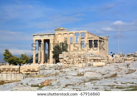 The Erechtheum on Acropolis Hill of Athens - stock photo