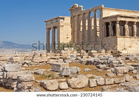 the erechtheum, one of the main temples of ancient Athens. Greece - stock photo