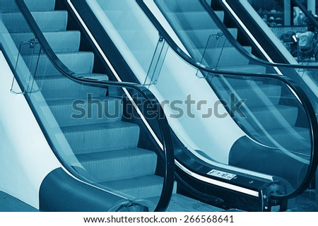 The escalator in shopping center in Europe
