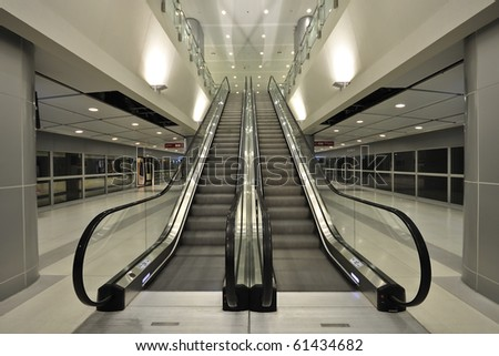 The escalator moving - stock photo