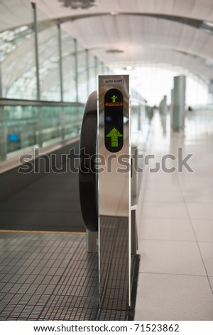 The escalator moving at airport - stock photo