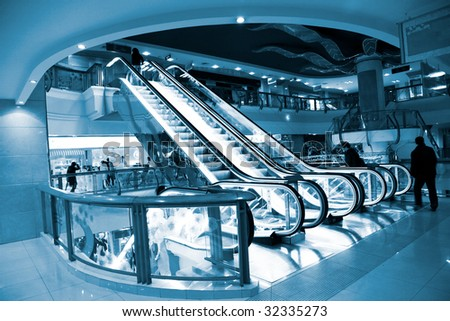 the escalator of the airport. - stock photo