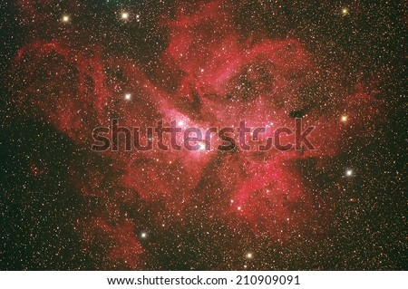The Eta Carinae Nebula (NGC3372) this nabula in Carina constellation distance 7500 light year from earth. - stock photo
