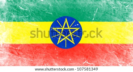 The Ethiopia flag painted in vintage style