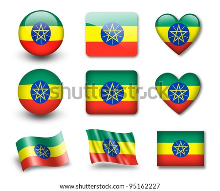 The Ethiopia flag - set of icons and flags. glossy and matte on a white background. - stock photo