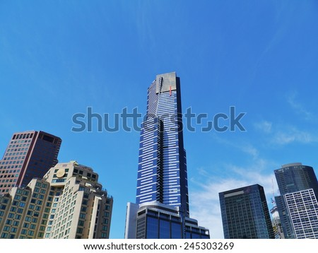 The Eureka tower in Melbourne in Victoria in Australia Photo taken on: 1 december 2013 - stock photo
