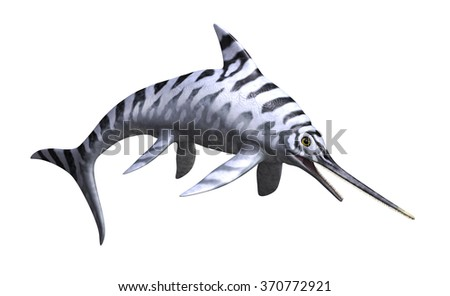 The Eurhinosaurus was a prehistoric undersea reptile that lived during the Jurassic Period - 3d render. - stock photo