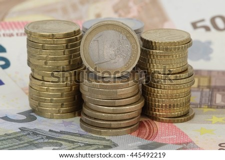 The Euro, a pile of money - stock photo