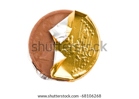 the euro currency . chocolate coin - stock photo