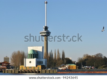 The euromast along the river Meuse in Rotterdam in the Netherlands - stock photo