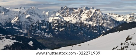 the european alps in winter panorama