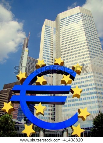 The European Central Bank (ECB) on a sunny day, Frankfurt am Main, Germany - stock photo
