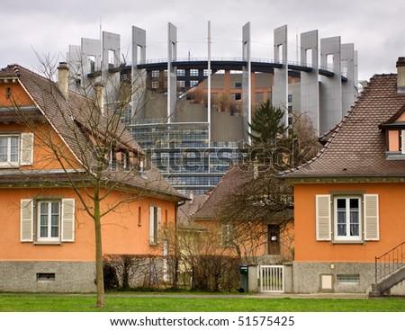 The European Parliament, Strasbourg building, France - stock photo