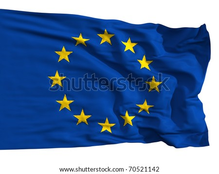 The European Union flag, fluttered in the wind. Sewn from pieces of cloth, a very realistic detailed flags waving in the wind, with the texture of the material, isolated on a white background - stock photo