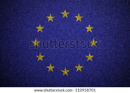 The European Union Flag painted on a cork board. - stock photo