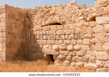 The Euthymius Monastery ruins. It is named after the Armenian monk , who was one of the founders of Judean Desert Christian monasticism and located in the Judean Desert between Jerusalem and Jericho. - stock photo