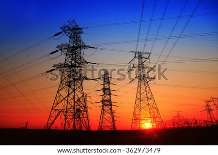 The evening of the pylon outline