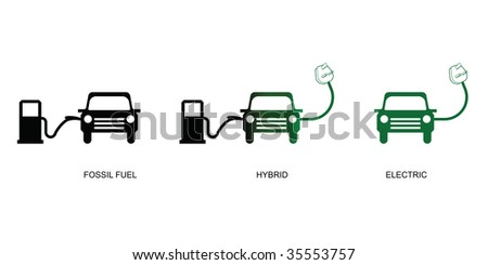The evolution of green electric car technology - stock photo