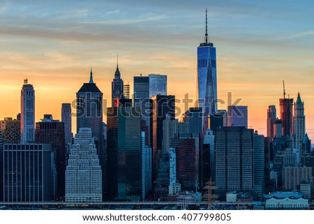 The evolving Downtown Manhattan skyline - stock photo