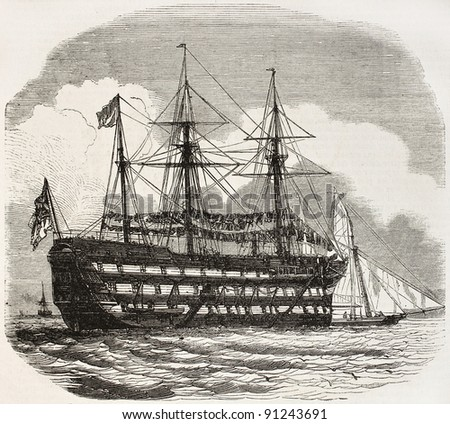The Excellent old illustration, British navy gunners training ship in Portsmouth. By unidentified author, published on L'Illustration, Journal Universel, Paris, 1858 - stock photo
