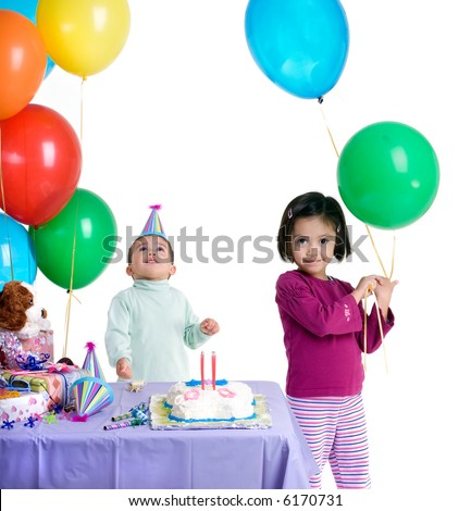 The excitement of a birthday party, childhood, youth, sharing, friends. - stock photo