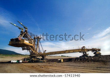 the exploition machine in opencast coal mine - Czech Republic