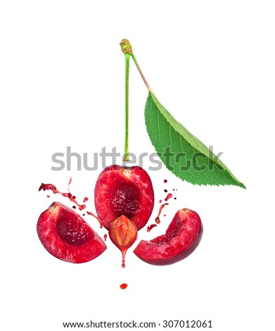 the explosion of cherries for three slices and a splash of cherry juice isolated on white background - stock photo