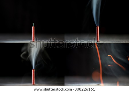 The explosion of firecrackers closeup. Bomb  - stock photo