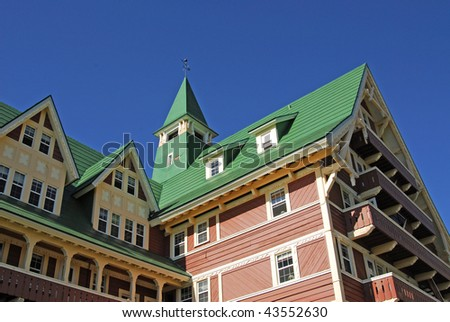 The exterior look of the famous historic Prince of Wales Hotel in waterton lakes national park, alberta, canada - stock photo
