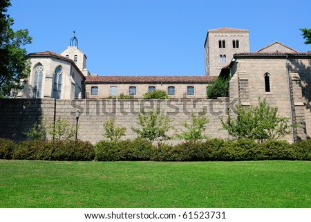 The exterior of Cloisters Museum in New York City. - stock photo