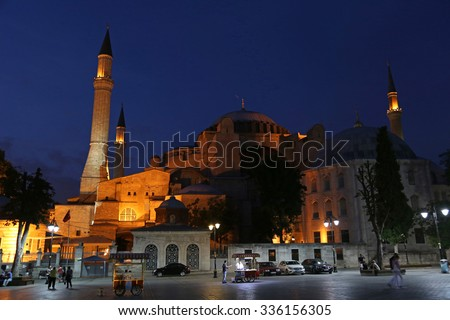 The exterior of Hagia Sophia shot at night, located in Istanbul, Turkey.  It was constructed in 537 by Byzantine Emperor Justinian I.  - stock photo