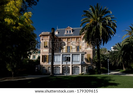 The exterior of Villa Nobel in Sanremo, Italy - stock photo