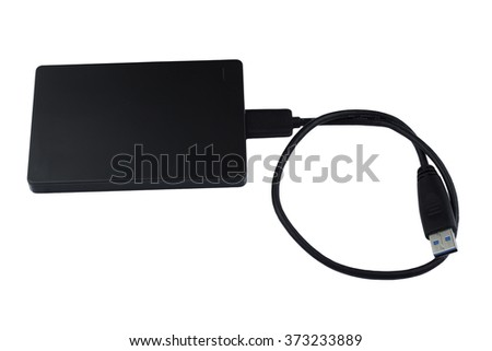 The external hard drive for backup isolated on white - stock photo