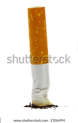 The extinguished stub of a cigarette. A bad habit... - stock photo