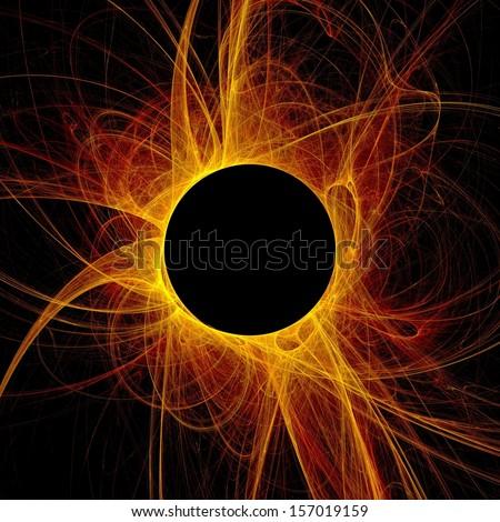 The eye of God  Solar Eclipse on black background - stock photo