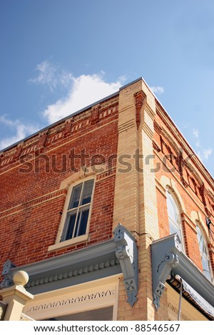 the façade of an Ontario Victorian store front carefully restored - stock photo