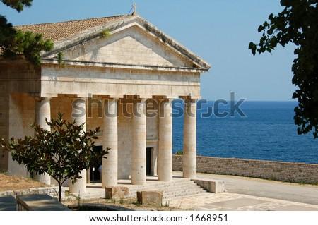 the fabulous St. John temple in the Old Fortress of Corfu island Greece - stock photo