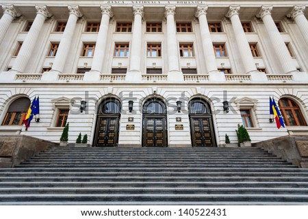 The facade and front of the newly renovated romanian national bank - stock photo