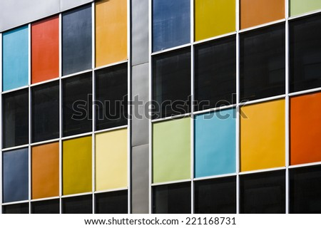 the facade of a colorful building - stock photo