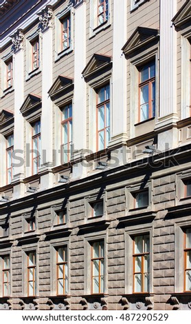 The facade of a historic building in the centre of Saint Petersburg