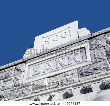 The facade of an old bank