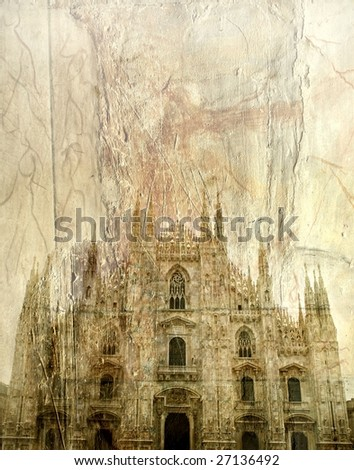 The facade of Duomo in Milan, Italy - stock photo