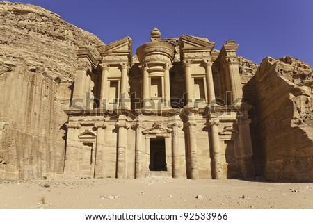 the facade of monastery in petra, jordan - stock photo