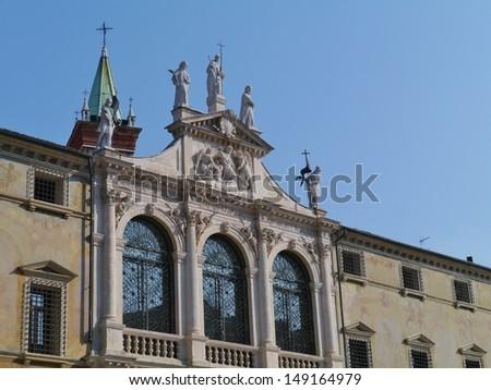 The facade of the church san Vicenzo (saint Vincent) non the piazza dei Signori in Vicenza in Italy - stock photo
