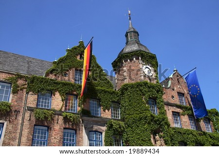The facade of the city hall of Dusseldorf (Germany) - stock photo