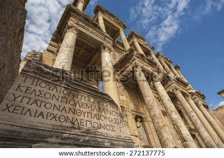 The facade of the Library in Ephesus, the Roman ruins near Kusadasi, Turkey