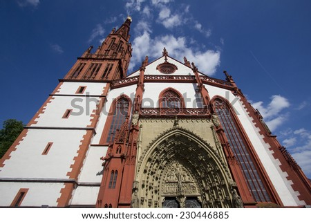 The facade of the Marienkapelle Church in Wurzburg, Germany - stock photo
