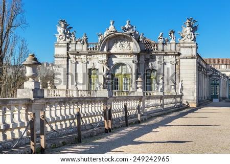 The facade of the old royal castle Queluz. Sintra Portugal. - stock photo